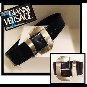 Gianni Versace Vintage black&silver leathee Belt